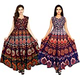 Monique Women's Jaipuri Print Cotton Long Midi Maxi Dress (Multicolour, Free Size) -Combo of 2
