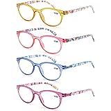 MODFANS Set van 4 leesbrillen voor dames, ronde leesbrillen voor vrouwen, goede bril, modieus, comfortabel, super leeshulp