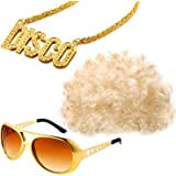 Gejoy Hippie Costume Set Funky Afro Wig Sunglasses Necklace for 50/60/70s Disco Theme Party