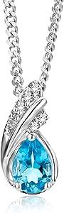 Miore Collana con Pendente da Donna in Oro Bianco 9K con Topazio Blu e Diamanti, Taglio Brillante, 45 cm