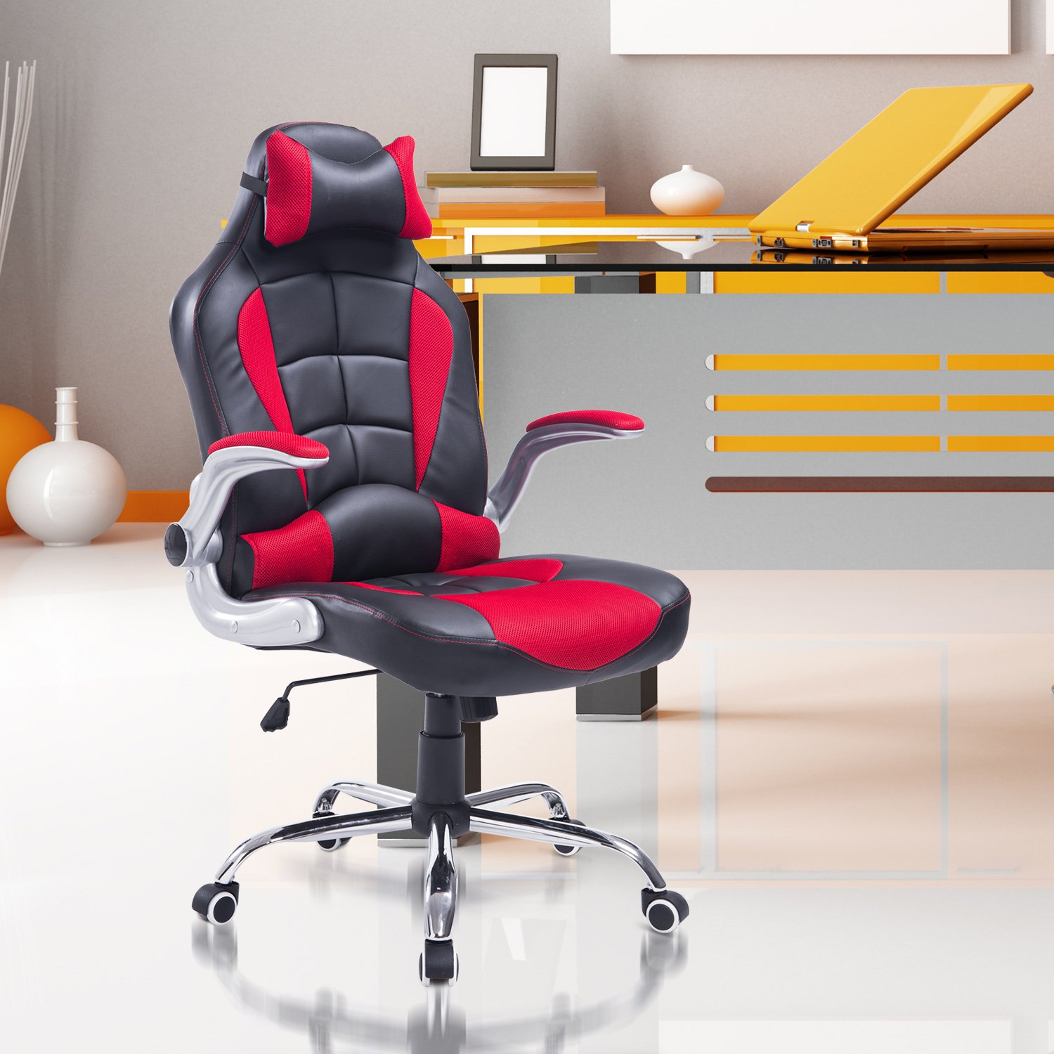 product support seat office gaming high racing rakuten lumbar w chair headrest shop back executive costway