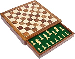 StonKraft Collectible Foldable Premium Wooden Chess Game Board Set with Magnetic Hand Crafted Pieces (12 X 12 Non Folding Drawer)