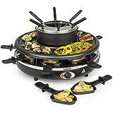 Klarstein Fonduelette - Raclette gril, Pour 8 personnes, Plat à fondue, Grande plaque gril de 38cm, Puissance de 1350W, 8 poê