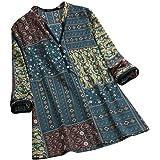 Vectry Camisa Mujer Vintage Folk Style Impresión Button Cuello En V Manga Larga Top T-Short Blusa Camisa Otoño Verano Playa Y