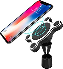 J&A Wireless Car Charger, [aktualisiert] Magnetic Car Mount Halter mit 360 ° -Drehung, QI 10W Fast Wireless Für Samsung Galaxy Hinweis 8 / S8 / S8 + / Hinweis 5, 7.5W Für iPhone 8/8 Plus/X