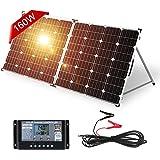 DOKIO Panneau solaire pliable 150 W avec régulateur de charge solaire (PWM, 2 ports USB) pour batteries 12 V, avec sac de tra