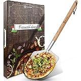 SQUALIPRODU® Pala per pizza – con paletta in acciaio inox e impugnatura in legno di faggio – filettatura stabile & impugnatur