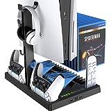 Benazcap PS5 Console Stand Accessoires met Koelventilator en PS5 Controller Opladen Dock, Multifunctionele Verticale Stand me