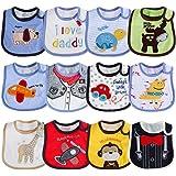 Lictin Baberos de Bebé--12pcs Baberos de Bebé para Niños Baberos de Bebé Impermeables de Algodón con Diferentes Estampados Aj