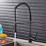 JRUIA Design Küchenarmatur mit Ausziehbar Brause 360°Drehbar Spiralfeder Spültischarmatur mit Herausziehbarer Geschirrbrause Einhebelmischer Küche Wasserhahn aus Messing (Schwarz)