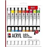 Marabu 1210000000202 Acrylverfset met 18 kleuren à 12 ml, dekkende, mat glanzende acrylverf op waterbasis, voor spieraam, sch