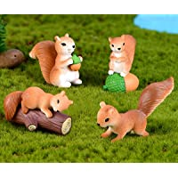 Chocozone 4pcs/Set Miniature Squirell Action Figures Garden Decor Home Decoration Landscape Animal Toys