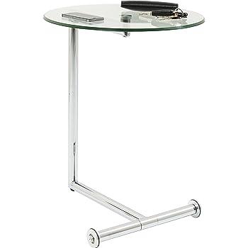 Beistelltisch Easy Living, Silber, kleiner, runder Glastisch mit Rollen, Couchtisch/Ablagetisch (H/B/T) 62x51x46cm