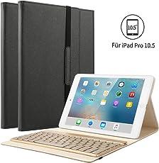 """iPad Pro 10.5 Tastatur Hülle, Kvago iPad 10.5 Case mit 7 Farbe Hintergrundbeleuchtung Ultra-dünn QWERTZ Bluetooth Tastatur Auto Schlaf/Aufwach Funktion für Apple iPad Pro 10,5"""" Zoll, Schwarz"""