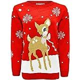 Janisramone Niños Chicas Chicos Nuevo Navidad Bebé Ciervo Bambi Novedad Navidad De Punto Saltador Suéter Top