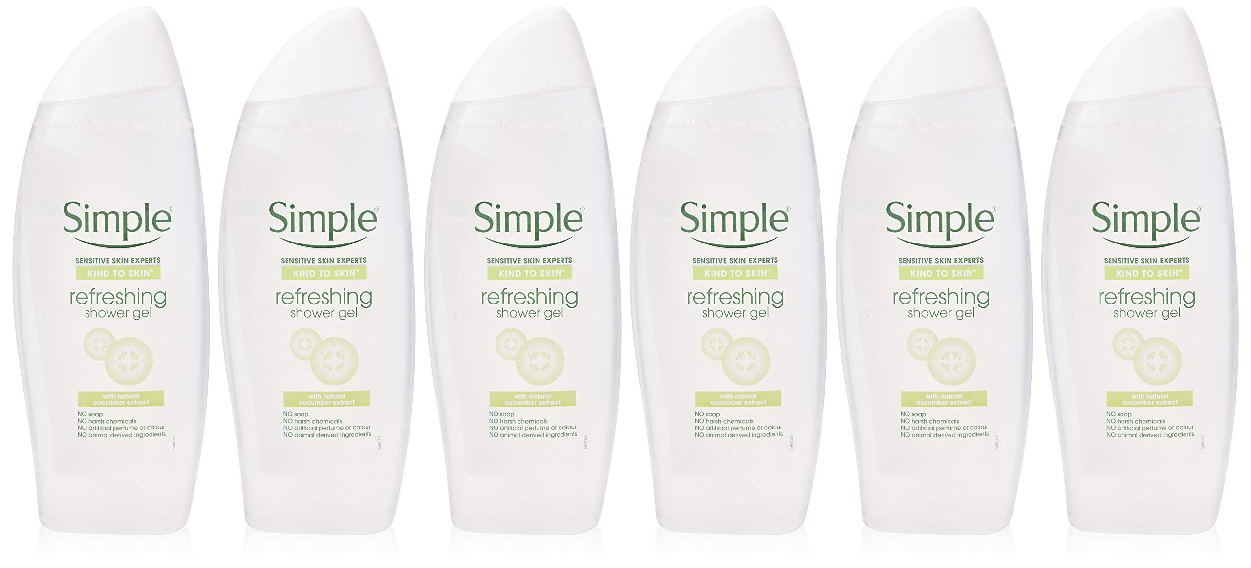 Simple Kind to Skin Shower Gel, Refreshing Body Wash for Men and Women, 3 Months Supply, (6 x 500 ml)