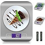 Bilancia da Cucina Digitale, solawill 5kg/11 lbs Acciaio Inossidabile Bilancia Cucina con Funzione Tare,7 Unità di Conversion