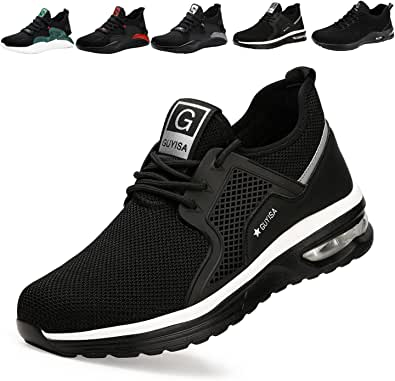 Safety Trainers Men Women Light Safety Shoes Steel Toe Cap Work Trainers Shoes Sneakers Breathable Industrial & Construction Shoes Black UK 3.5