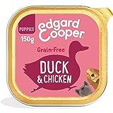 Edgard & Cooper Comida Humeda Cachorros Perros Junior Natural Sin Cereales, Pack de 11x150g Pato y Pollo Frescos, Fácil de di