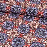 Stoffe Werning Baumwolljersey Mandalas Blumen rot