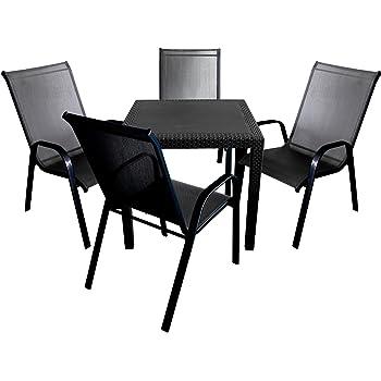 Amazon.de: Elegantes 5tlg. Balkonmöbel Terrassenmöbel Set Kunststoff ...