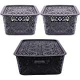 SimpArte Turkish Basket with lid for Kitchen | Vegetables | Toys | Books | Office | Stationery | Utility | Cosmetics | Access
