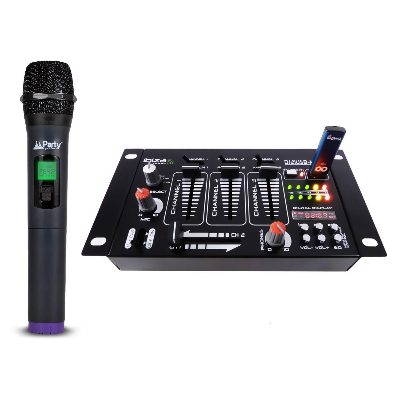 PACK Table de mixage 4 voies 7 entrées USB + Micro sans fil via USB