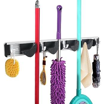 wandhalterung f r kehrbesen schaufel wischer mopp besenhalter wei garten. Black Bedroom Furniture Sets. Home Design Ideas