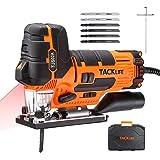 TACKLIFE Sierra de Calar 800W, 0~3000RPM con Láser & LED, 6 Cuchillas, 6 Velocidad Variable, Corte más Preciso, Base de Alumi