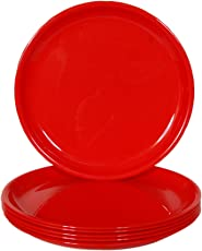 Day2Day Forever Red Microwave Safe Dinner Plates Set Pack of 6 (27x27x2 cm)