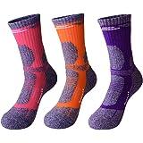 3 Pairs Men Women Hiking Walking Socks - UK Size 3-7, Anti Blisters, Soft, Warm, Comfortable, Breathable Nature Cotton Padded