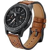 SUNDAREE Compatible con Correa Galaxy Watch 3 45MM/Galaxy Watch 46MM,22mm Cuero Reemplazo Banda Pulseras Smartwatch Correa fo