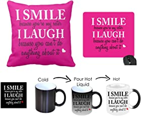 Giftsmate™ Birthday Bhaidooj Gifts for Sister Funny Teasing I Smile I Laugh