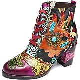 gracosy Ankelstövlar kvinnor platta läderstövlar nytt tryck retro växt bohemiskt handgjort mönster snörning låg blockklack vi