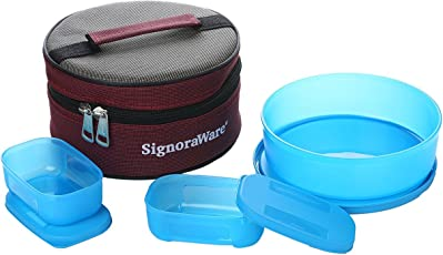 Signoraware Classic Lunch Box Set with Bag, T Blue