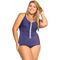 Delimira Women's Built-in Cup Plus Size Swimsuits One Piece Zip Front Bathing Suits