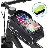 TURATA Bolsas de Bicicleta, Bolsa Impermeable para Bicicleta, Bolsa Táctil de Tubo Superior Delantero con Orificio para Auric