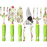 Trädgårdsredskapssatser - 6 st Kraftiga aluminiumträdgårdsredskap i aluminium, blommigtryck Trädgårdspresenter för kvinnor, u