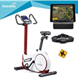 skandika Ergometer Morpheus, Fitnessbike, Heimtrainer mit Steuerung und Street View Funktion, Pulsgurt, 32 einstellbare…