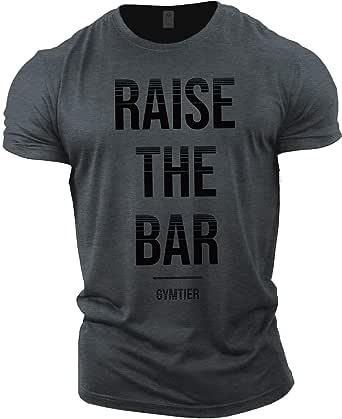 GYMTIER Mens Bodybuilding T-Shirt - Raise The Bar - Gym Training Top