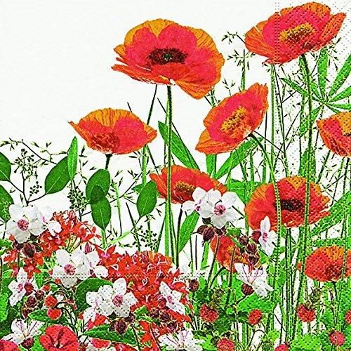 Cocktail Servietten Serviett 25x25 cm (Red meadow) Mohnblumen Frühling Sommer Ostern Sonne Blumen Tiere Garten Früchte