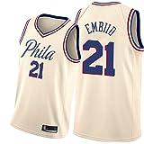 DRBY Camiseta de Baloncesto para Hombre, 76ers # 21 Embiid # 25 Simmons Chaleco Deportivo Camiseta Camiseta Ventilador Jersey