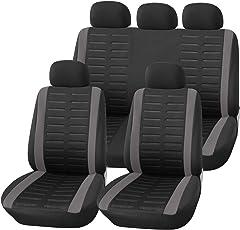 upgrade4cars Auto-Sitzbezüge Set Universal Schwarz Grau   Auto-Schonbezüge für Sommer & Winter   Pkw Sitzbezug Komplettset für die Vordersitze & Rückbank (B1 Grau)