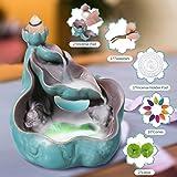 Jeteven Lotus leaf Backflow Incense Burner Incense Holder Censer with 10 Pcs Cones in Exquisite Present Box