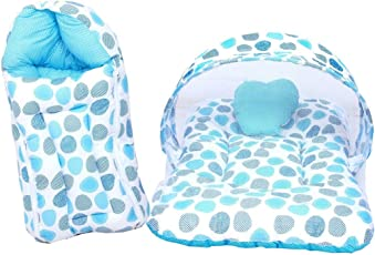 FARETO New Born Baby Gift Pack Mattress with Mosquito Net & Sleeping Bag Combo 0-6 Months (0-6 months, Blue)