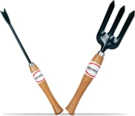 Pepper Agro Garden Tool Wooden Handle Weeding Fork Weeder 2 Piece Kit