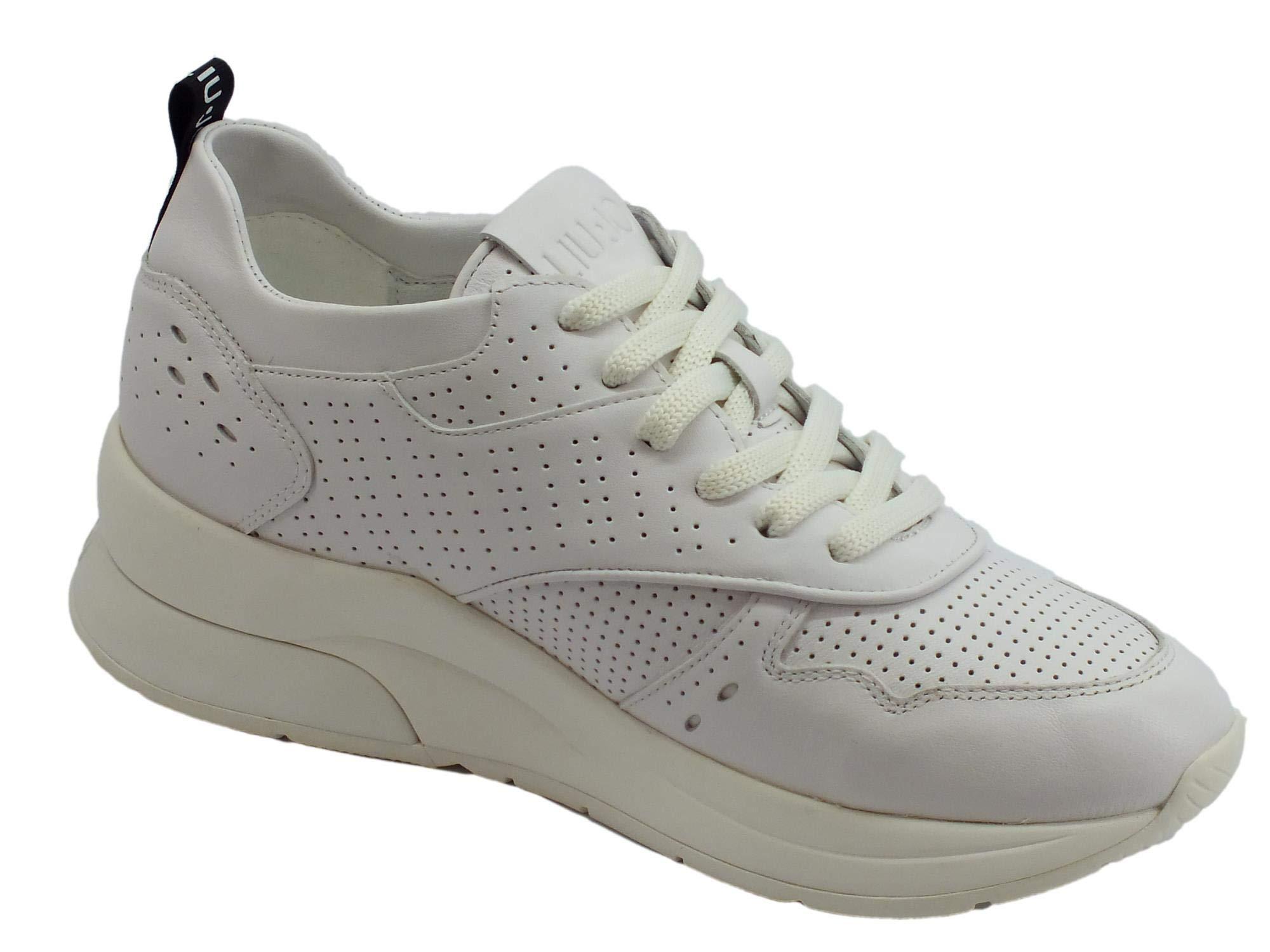 Liu Jo Jeans Karlie 14 Sneaker Calf Leather White, Scarpe da