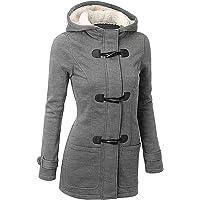 GHYUGR Femmes Manteaux à Capuche Bouton Corne Blouson Veste Jacket Chaud Épais Hoodie Hoody Outwear Automne Hiver Slim…