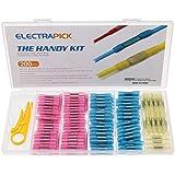 electrapick 200pcs Conectores eléctricos termocontraíbles Terminal a tope termocontraíble de cable de crimpado con 30 Bridas