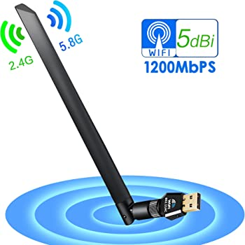 WiFi Dongle Adapter 1200 Mbps 5Bdi Dual Band (2 4G 300M/5G